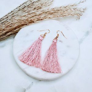 5 for $25 Blush Pink Tassel Fringe Earrings